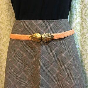 Vintage peach snakeskin belt with gold buckle